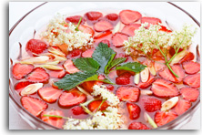 Marinated strawberries with lemon grass and elderflowers