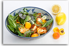 Halloumi, apricot and pak choi salad recipe